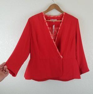 CAbi Coral Red JANE 3/4 Sleeve Blazer Jacket B1